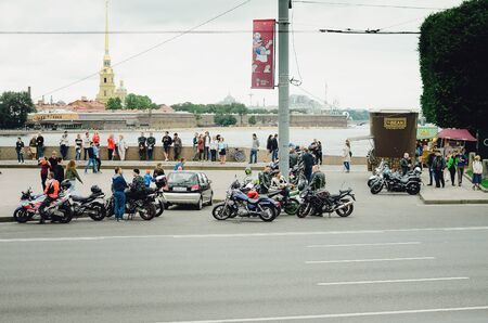 Saint Petersburg, RUSSIA - July 08, 2018: Motorcycle bikers on the streets of St. Petersburg. Redakční