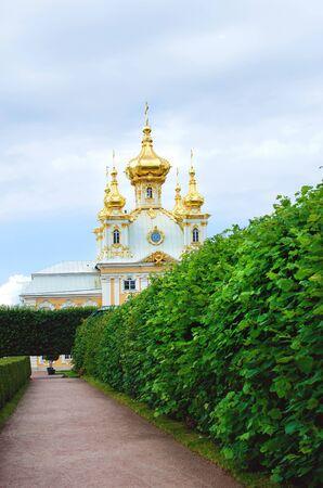 Saint Petersburg, RUSSIA - July 11, 2018: Peterhof Temple in St. Petersburg. Tourist attraction. Redakční