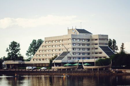 VYBORG, RUSSIA - July 12, 2018: Beautiful buildings. Architecture of the city of Vyborg, Leningrad region. Redakční
