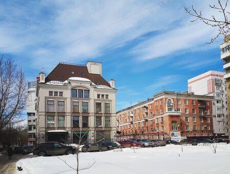 Saratov, Russia- March 26, 2018: Beautiful winter urban landscape. Modern architecture of the city of Saratov.