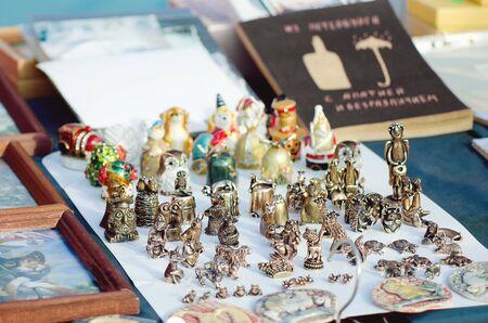 VYBORG, RUSSIA - July 12, 2018: Sale of souvenirs for tourists. Redakční