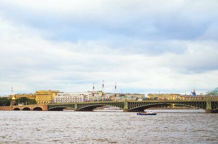 Saint Petersburg, RUSSIA - July 08, 2018: Beautiful bridge over the Neva River in St. Petersburg. Redakční