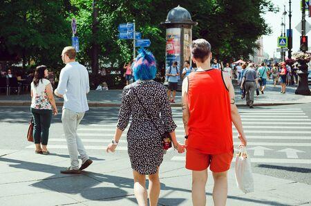 Saint Petersburg, RUSSIA - July 13, 2018: People walk along Nevsky Prospect in St. Petersburg. Redakční