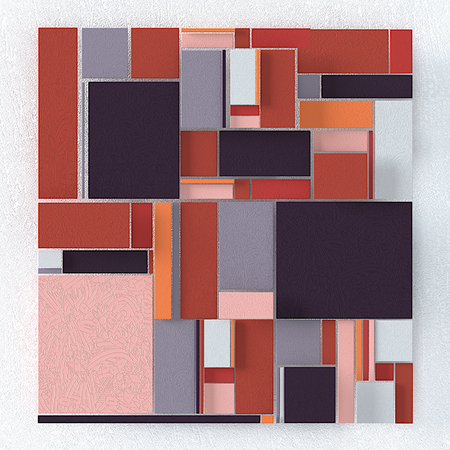 Abstract background of quadrangles, three-dimensional image with texture.
