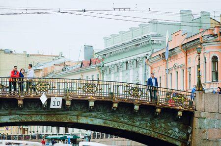 Saint Petersburg, RUSSIA - July 09, 2018: Tourists walk in St. Petersburg.