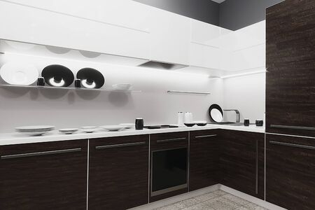 Interior of a modern kitchen with utensils. 3d rendering.