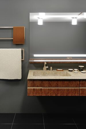 bathroom interior with a wooden shelf, a sink standing on it, a mirror. 3d rendering mock up