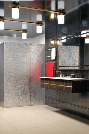 3d illustration of gray modern shower room with equipment and accessories. 3d render. Stockfoto