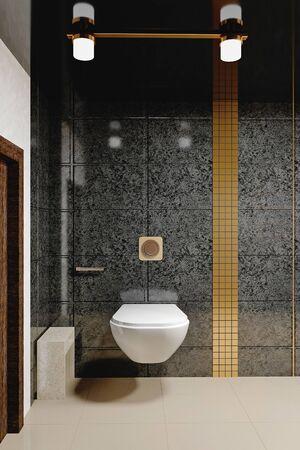 Modern toilet in the toilet room. Bathroom interior in black color. 3 d illustration.