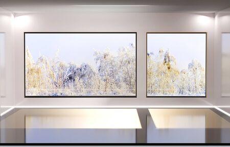 Modern bright interiors. 3D rendering illustration. Winter landscape outside the window. Stock Photo