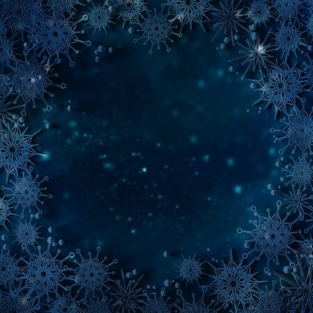 Christmas Navy blue abstract background with snowflakes.