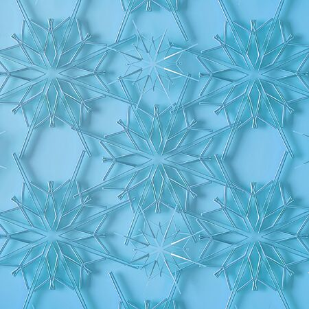 Beautiful blue christmas background from volumetric snowflakes, 3d illustration.