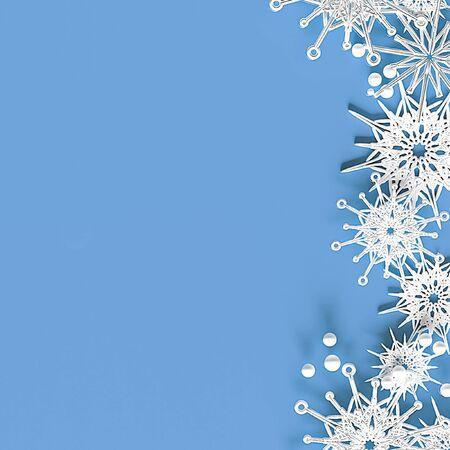 Abstract light blue background with volumetric snowflakes and place for text. 3d illustration. Zdjęcie Seryjne