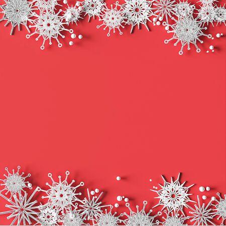 White openwork volumetric snowflakes on a pink background. Christmas 3D greeting card. Zdjęcie Seryjne