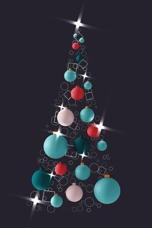 Fashionable creative Christmas tree made of colorful balls. Vertical 3d illustration.