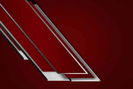 red abstract tech background with contrast silver metal stripes. geometric design. 3d illustration.