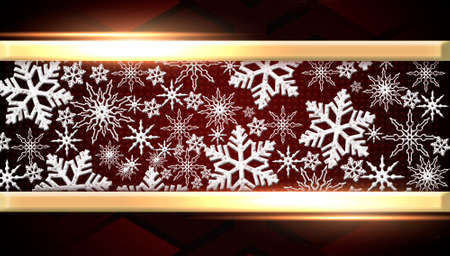 White 3D snowflakes on a red banner. Panoramic Christmas background.