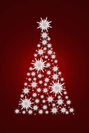 Beautiful Christmas tree made of white snowflakes on a red background.