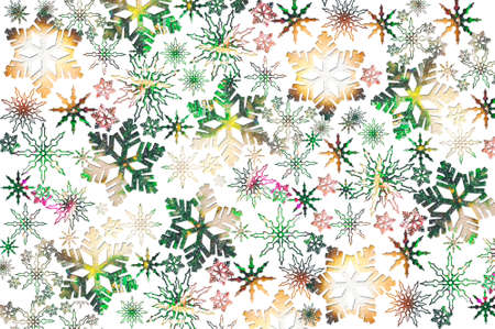 Multicolor snowflakes on a white background. Beautiful Christmas background. Stock Photo