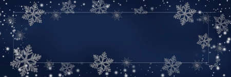 New Year panoramic background. Snowflakes on a blue background. Space for text, copy-space.