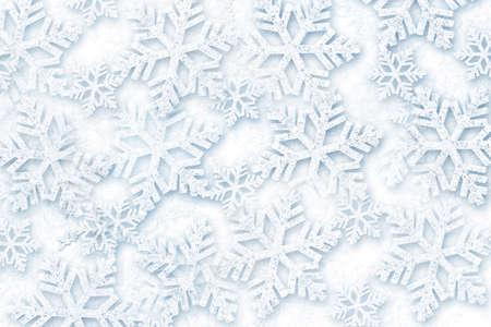 Volumetric snowflakes on a white background.