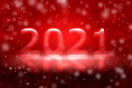 Abstract red christmas background. The inscription 2021 on a blurred background with bokeh. Stock Photo