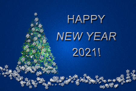 Green Christmas tree, white snowflakes and elegant inscription on a blue background.
