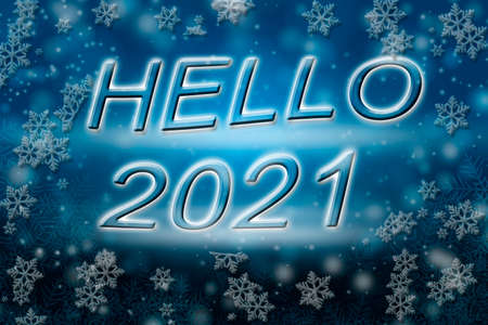 Hello 2021 lettering on an abstract Christmas background.
