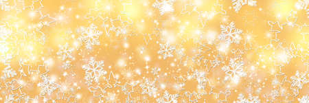 White snowflakes on a gold background. Festive Christmas card. Panoramic background.