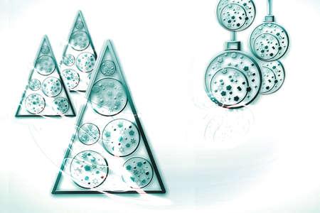 Creative Christmas tree and decorations on a white background. Beautiful New Year stylish illustration.