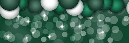 Panoramic Christmas background. Festive wide postcard for design. Bokeh, decoration and sparkles on a green background. Stock Photo