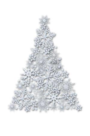 Creative Christmas tree made of volumetric snowflakes on a white background.