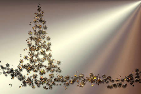 Merry Christmas and Happy New Year Christmas pine tree made of golden snowflakes on a silver background in futurism style, design for a festive card decoration. Stock Photo