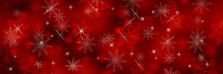 Christmas panoramic red background with snowflakes and bokeh.
