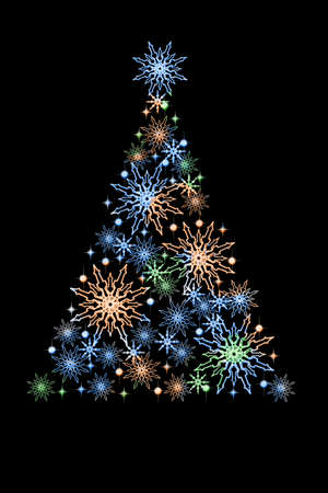 Creative Christmas tree made of multi-colored snowflakes on a black background. Christmas card for design.