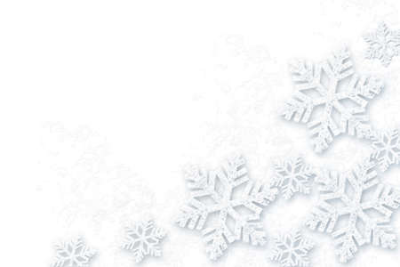 Abstract white Christmas background with snowflakes.