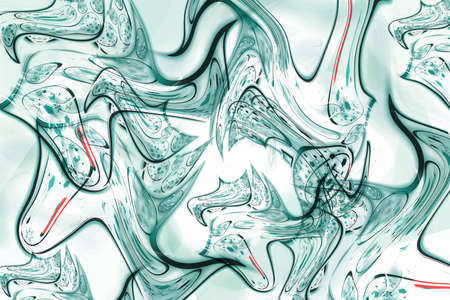 Beautiful abstract background. Turquoise chaotic waves on a white background.