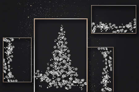 Creative black and white new year card. Christmas trees made from white snowflakes. Stock Photo