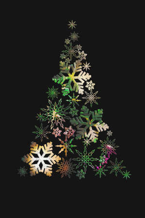 Abstract Christmas tree made of snowflakes on a black background.