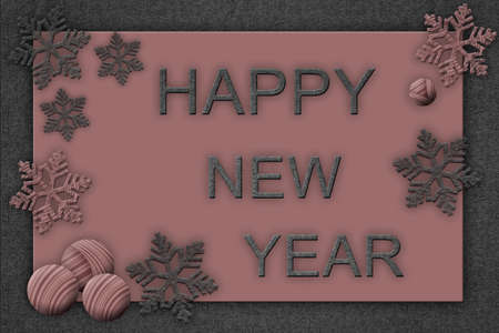 Pink and gray creative christmas card. Happy New Year inscription. Stock Photo