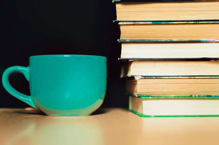 A coffee mug stands next to the books. lafstyle photography.
