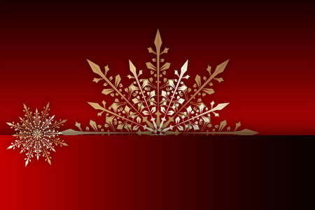 Gold snowflake on a red background. christmas card. Christmas poster, greeting cards, headers, website. Space for text, copy-space.