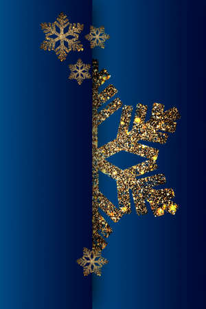 Gold snowflake with sparkles on a blue background. Vertical Christmas card.