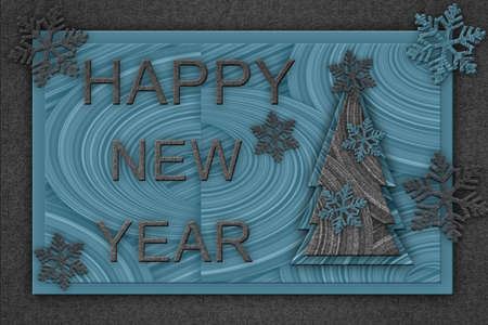 Merry Christmas and Happy New Year. Christmas tree with snowflakes and decorated in textured blue-gray background.
