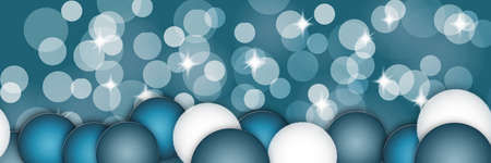 Panoramic Christmas background. Blue and white bokeh and decorations.