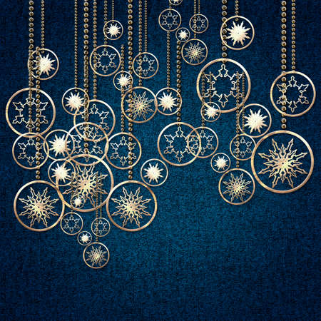 Golden Christmas snowflakes, balls and decorations on a blue background.