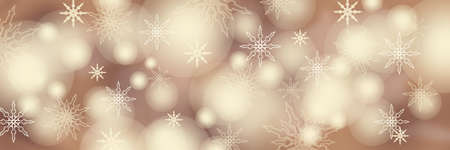 Christmas panoramic background with snowflakes and bokeh. Wide festive postcard for design. Stock Photo