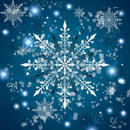 Beautiful white snowflakes on a blue background.