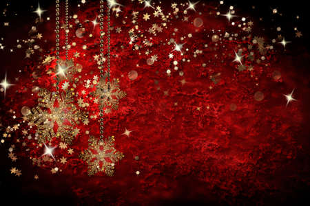 Merry Christmas background with Christmas element. Gold snowflakes and sparkles on a red background.
