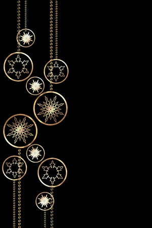 Golden Christmas snowflakes, and baubles on a black background. Vertical Christmas background for design.